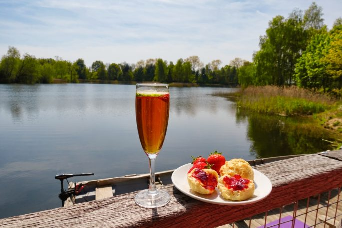 scones and Pimms at my log cabin