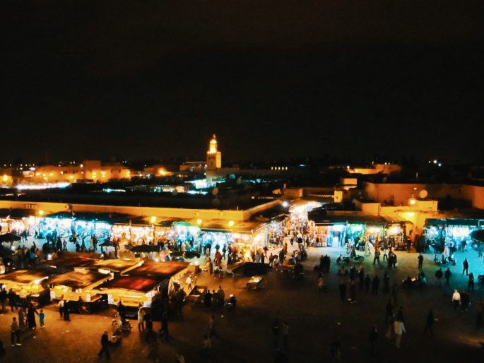 Jemaa el-Fna Square at night from above