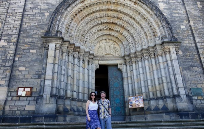 Jaillan of Savoirthere and guide Michal outside a church in Prague