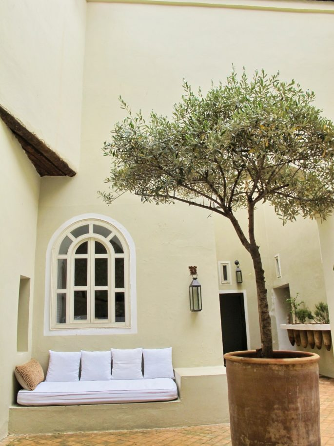 courtyard with white sofa in a riad
