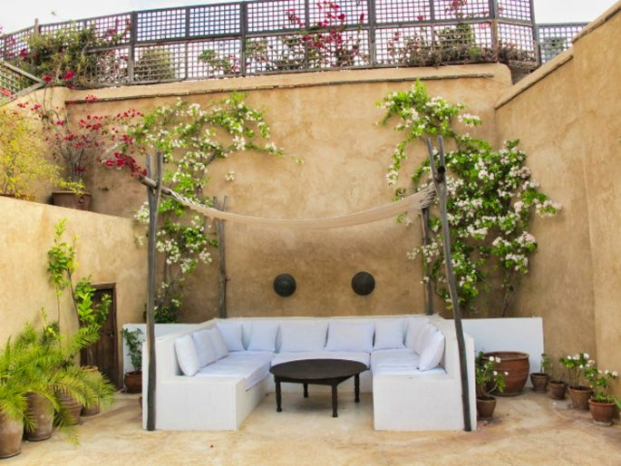 Riad outdoor seating area
