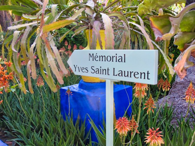 Sign for the Yves Saint Laurent Memorial at Jardin Majorelle