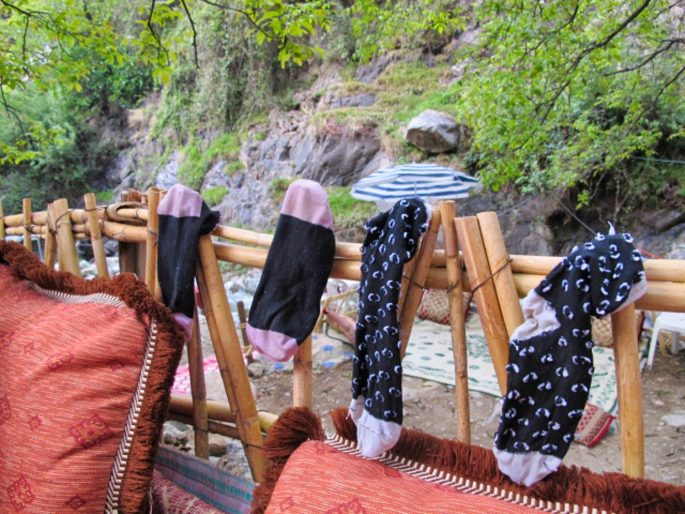 socks drying in Atlas mountains