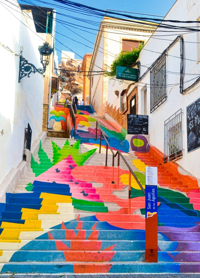 Brightly painted steps with whitewashed houses