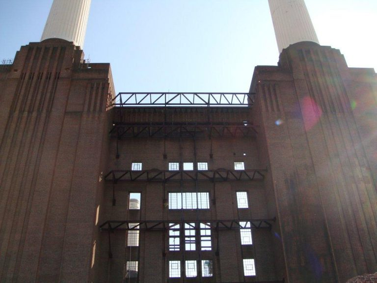 Battersea Power Station inside in sunlight