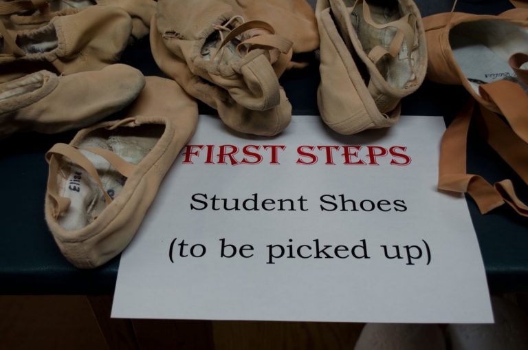 Student dance shoes at Royal Winnipeg Ballet